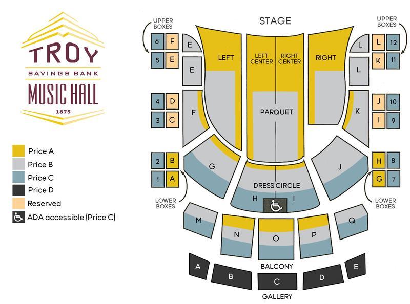 Seating Charts Troy Savings Bank Music Hall